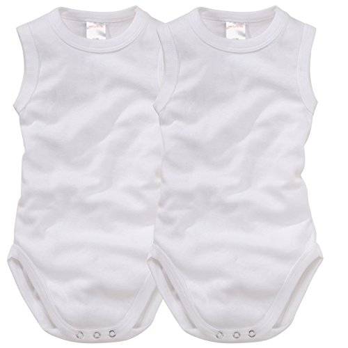 wellyou wellyou, 2er Set Baby-Body Kinder-Body ohne Arm, klassisch weiß, ärmellos für Jungen und Mädchen, Feinripp 100% Baumwolle, Größe 56-62