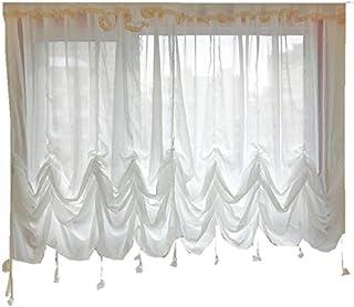 フランス式 ホワイト ロマンティック 出窓 小窓 バルーン カーテン スタイル調整可能 レースカーテン 超綺麗 幅280*丈260cm