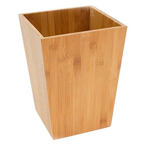 MSV Abfalleimer Papierkorb Bambus - 10 Liter - 26,5 x 20 x 20 cm