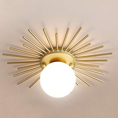 CHNOI Luces de Techo de Vidrio Redondas nórdicas Luces de Techo de Metal Dorado con Forma de Sol G9 Pasillo LED Moderno para Vestuario Luminaria de Pasillo