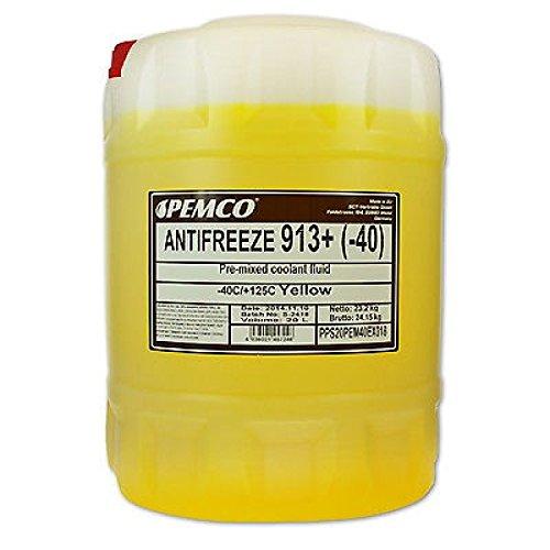 20 Liter Pemco 913+ 913 Plus Kühler Frostschutz Kühlmittel bis -40°C gelb gebrauchsfertig