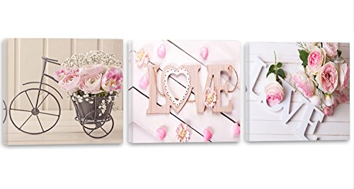 Feeby Frames, Cuadro en lienzo - 3 partes - Panorámico, Cuadro impresión, Cuadro decoración, Canvas 120x40 cm, LOVE, ROSAS, FLORES, RAMO, RURAL, ROSADO