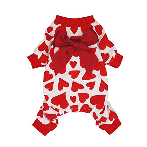 Fitwarm Dog Valentines Day Pajamas Hearts Costumes Pet Clothes Cat Jumpsuits Onesies Jammies Red Large