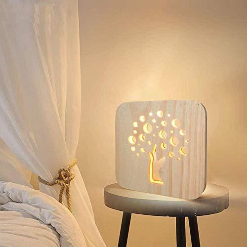 Eenvoudige massief houten handwerk decoratie houten lamp USB tafellamp LED geschenk romantisch
