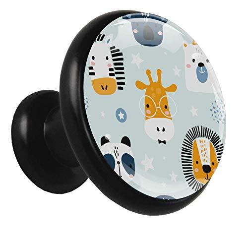 Pomo decorativo Nórdico León Tigre Panda 4 piezas negro redondo manija de gabinete manija de cajón manija de muebles para puerta habitación de niños jardín de infantes orificio único 3.2×3.0cm