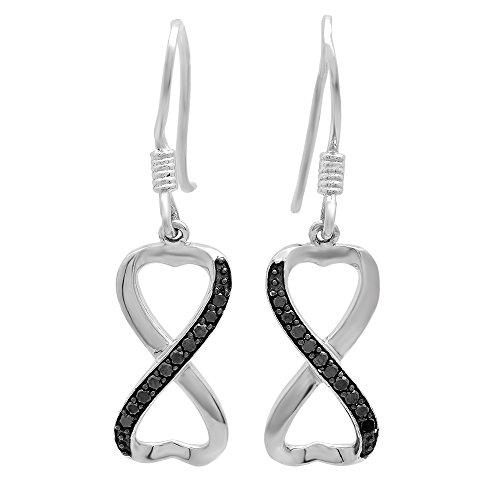 0,20Carat (quilate) espiral de plata diamante negro infinito pendientes colgantes en forma de corazón 1/5CT