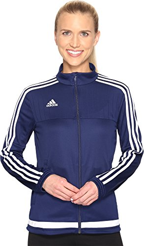 adidas Women's Tiro 15 Training Jacket, Dark Blue/White/Dark Blue, Small