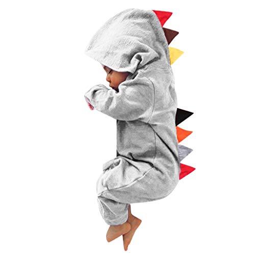 YWLINK Mono con Capucha Bebé ReciéN Nacido NiñOs NiñAs Manga Larga Caricatura Dinosaurio Cremallera con Capucha Mameluco Lindo AlgodóN Ocio Comodo Pijama Regalo De CumpleañOs(Gris,0-6 meses/70)