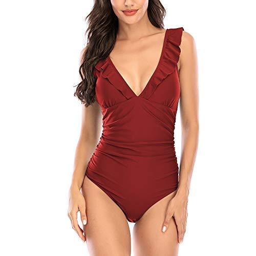 Traje de baño de una pieza para mujer sexy con cuello en V profundo con cordones en la espalda Monokini, rojo vino, L