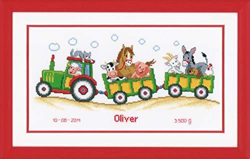Vervaco - Juego de Punto de Cruz (36 x 19 cm, Incluye Tela Aida Blanca de 14 Agujeros/cm e Hilos de algodón), diseño de Tractor con Animales y Registro de Nacimiento