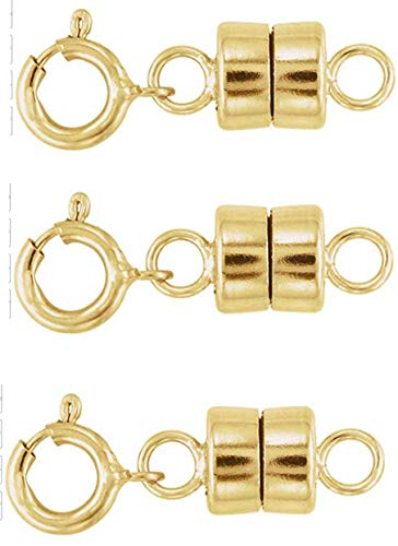Sparik Enjoy 3 Pack-.14K Gold 4mm Strong Earth Magnetic Converter Connector for Necklaces, Bracelets, Anklets with 5mm Spring Ring Jewelry Clasps (3 Pack 14K Gold)