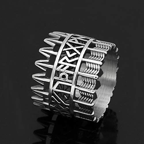 YABEME Norse Viking Ring, Men Stainless Steel Vintage Arrow Rune Celtic Pagan Scandinavian Finger Amulet Jewelry, with Valknut Gift Bag,13