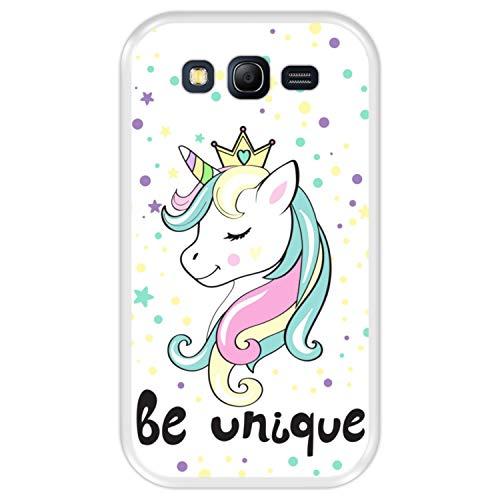 Hapdey Funda Transparente para [ Samsung Galaxy Grand Neo - Neo Plus ] diseño [ Unicornio, Arcoiris, Sé Único ] Carcasa Silicona Flexible TPU