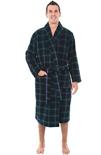 Alexander Del Rossa Mens Fleece Robe, Shawl Collar Bathrobe, 3XL 4XL Blue and Green Plaid (A0114P234X)