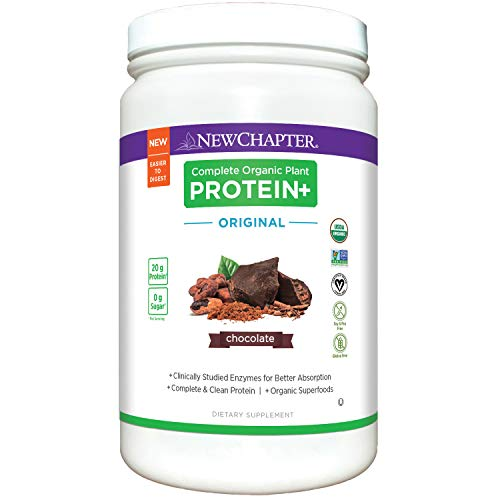 New Chapter Organic Plant Protein+ Original Chocolate, 20g of Vegan Protein Powder, Plant Based Protein Powder - 20 Servings, No Sugar, Low Carb, Dairy Free, Non-GMO, Kosher