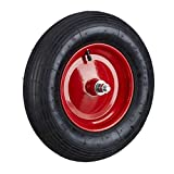Relaxdays Roue de brouette caoutchouc 200 kg, roue de rechange avec axe,...