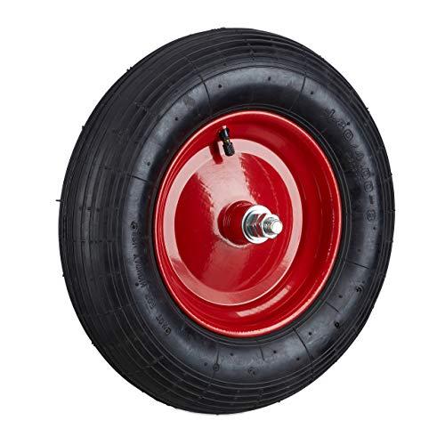 Relaxdays, schwarz-rot Schubkarrenreifen 4.80 4.00-8, Ersatzrad luftbereift inkl Achse, Luftreifen 120 kg Tragkraft