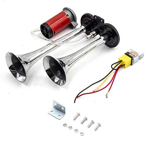 12V Drucklufthorn Lufthorn Dual Trompete Chrom Zink 150DB Super laute Auto modifizierte Luftpumpe elektrisch mit Kompressor für Züge Boote Autos