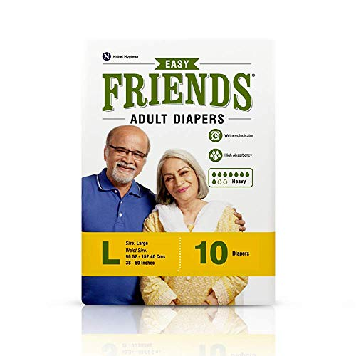 Friends Easy Adult Diapers Tape Style - 10 Count (Large) with odour lock and Anti-Bacterial Absorbent Core- Waist Size 38- 60 Inch ; 95.52-152.40 cm