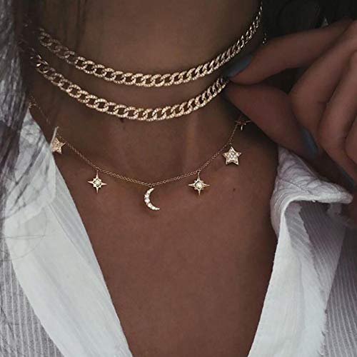 Focisa Collar Colgante Cadena Collares Hombre Mujer Collar De Cadena De Múltiples Capas Vintage para Mujer, Collar De Gargantilla De Cadena De Serpiente De Oro Multicapa De Moda, Joyería