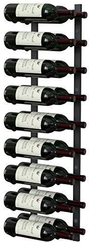 Y-Furniture Wall Series - 9 Bottles Wall Mounted Wine Rack, Wine Storage with label view (Steel, Satin Finish)