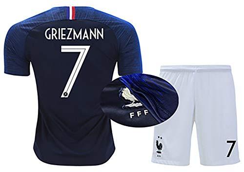 LHWQAN Fußballbekleidung Herren- und Damenanzüge 2019 Französische Trikots Nr. 10 Mbape Meister Nationalmannschaft Heim 7 Griezmann Auswärts 6 Bogba Fußball-9-XS