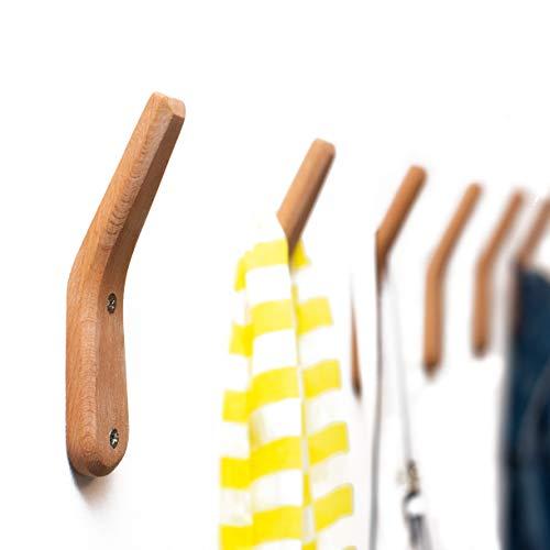 Coat Rack Hooks UMZi Wall Mounted Handmade Beech Wood Hook (Pack of 2)Modern Wooden Hat Rack Entryway Organizer Bathroom Hanger Rustic Towel Hangers Home and Kitchen Use Pegs(Pack of 2)(Natural Beech)