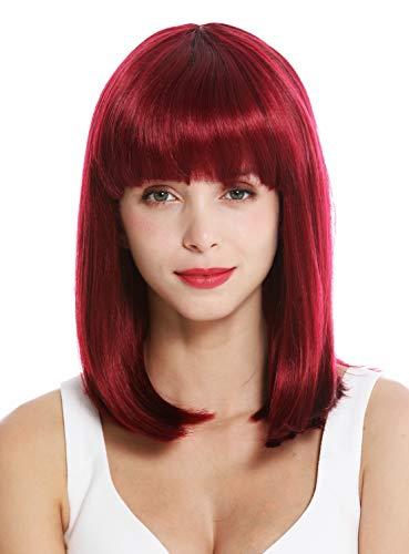 WIG ME UP - VK-1-118H99J Perruque dame courte hauteur des épaules carré long frange lisse mélange rouge violet