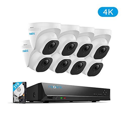 Reolink 4K Ultra HD 16-CH Überwachungskamera Set, 8MP Videoüberwachung mit 8X 8MP PoE IP Kameras, 16-CH NVR Rekorder mit 3TB HDD für Außen, Innen, Haus Sicherheit, RLK16-800D8