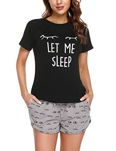Doaraha Pijama Corto Mujer Estampado Gráfico Ropa de Dormir Verano Camiseta Manga Corta con Pantalones Cortos Bolsillo Conjunto de Pijamas Algodón Suave y Transpirable Dos Piezes (Negro y Gris, S)