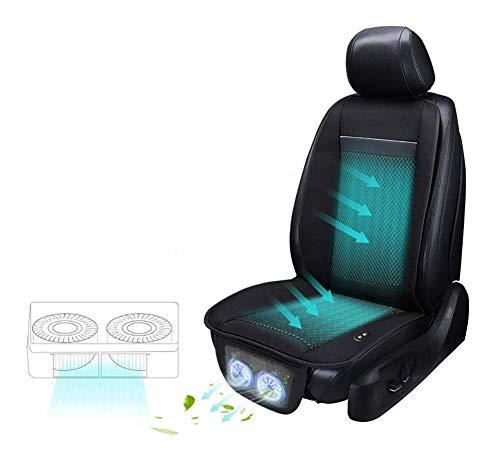 ZXRZT Refrigeración Cojín del Asiento del automóvil Confort/Absorción del Sudor Almohada de Seda de Verano Aire Acondicionado Refrigeración rápida Temperatura Ajustable 12V / 24V (Color: Negro)