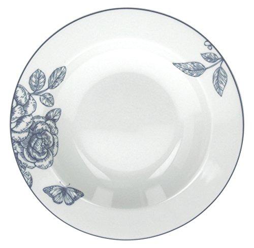 Tognana Olimpia Garden Lot de 6 Assiettes Creuses, Porcelaine, Bleu, 6 unités