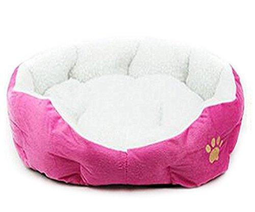 Weimay Gato o cachorro, acogedor y cómodo, nido redondo u ovalado, tamaño 46 cm x 42 cm (rosa)