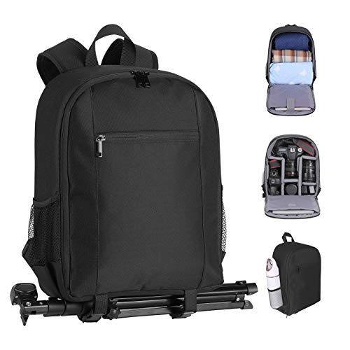 EMART Camera Bag Backpack with Removable Compartment for DSLR/SLR/Mirrorless Camera, Waterproof Camera Carrying Case Compatible for Sony/Canon/Nikon Camera, 13 inch Laptop, Tripod (Black)