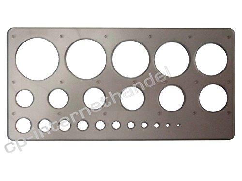 cp Kreisschablone/Lochschablone - grau - transparent/durchsichtig - 1-36 mm - hochwertig u. stabil - B-Ware