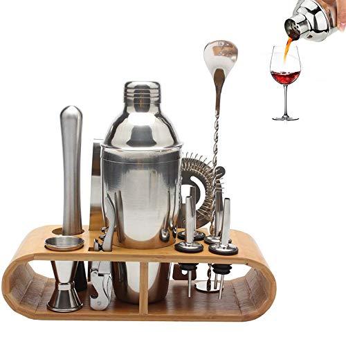 NBLYW 11 Stks/set Cocktail Shaker Bartender Kit met stijlvolle bamboe standaard, voor een geweldige drankmenging ervaring, exclusieve keuzes voor Home Bar Party