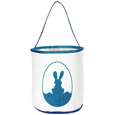 Easter Bunny Basket Glitter Print Egg Bags for Kids,Canvas Personalized Candy Egg Hunt Basket Rabbit Design Buckets Gifts Bags for Easter