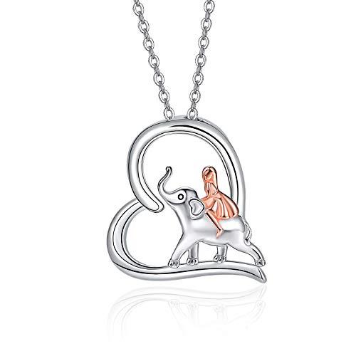 Elephant Neckalce for Girls Sterling Silver Elephant and Girls Pendant Elephant Jewellery Gifts for Women Girls