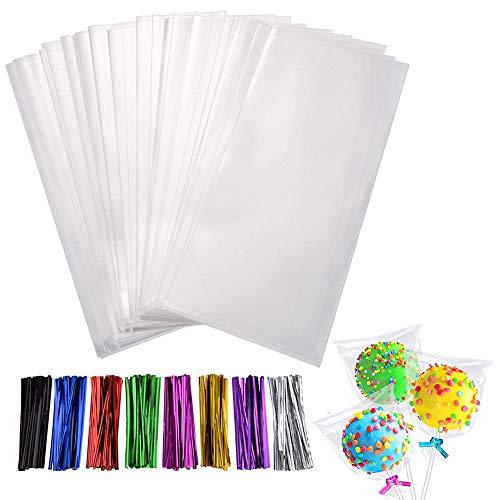 Bolsas de Celofán Dulces Pequeñas 200 Transparentes 4x3 Pulgadas, Bolsas OPP de Plástico para Galletas Celofán Navideño para Dulces/Regalos/Comida, con 320 Unidades 8 Lazos de Colores Mezclados