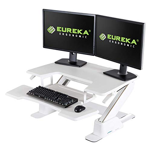 Eureka Ergonomic Height-Adjustable Sit-Stand Desk Top, 36-Inch Wide, No Assembly Required, SGS Top Rated, White