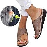 XXZ Ortopedico Sandali Estivi Toe Bunion Dito del Piede Protettore PU Sandali con Tacco Basso Viaggio Scarpe da Donna Piatte Comfy Sandals,5 Brown,40