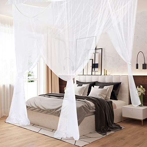 AIFUSI Mosquito Net, King Size Four Corner Post Curtains Bed Canopy for Single to Fits All Cribs and Beds for Adult Bedroom, Kids Rooms, Baby Bassinet, Garden, Camping(White)