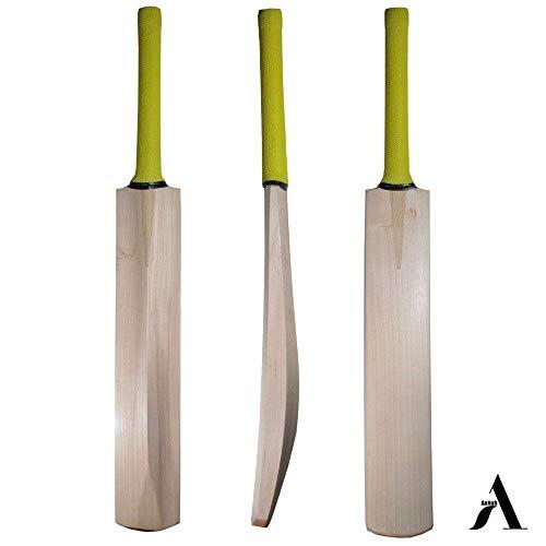 AnNafi Cricketschläger aus Kaschmir-Weide, für Lederball, Premium-Qualität, hochwertiger, maßgefertigter Dicker Rand, Leichter T20, kurzer Griff, Schlägerhaube in voller Größe.