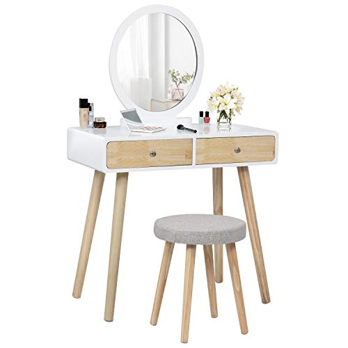Vanity Table Set with Round Mirror and 2 Large Drawers, Makeup Dressing Table with Cushioned Stool for Girls Women, Bedroom Vanity Desk (Natural and White)