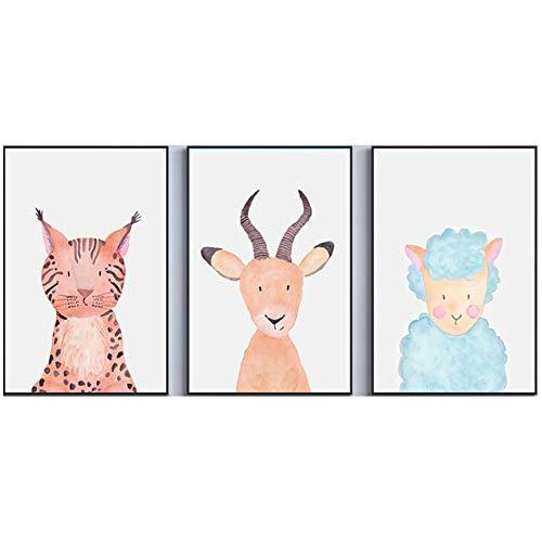 Fran Ensemble de 3 Affiches pour Chambre d'enfant Cartoon Antilope Animal Koala Baby Room sans Cadre