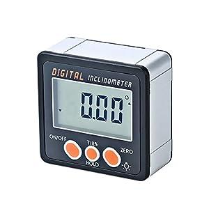 KKmoon Inclinómetro digital Transportador Base electrónico Caja 0-360 ° Aleación de aluminio Medidor Imanes digital Medidor de ángulo