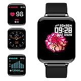 jpantech Smartwatch, 5ATM Impermeable Reloj Inteligente Hombre Mujer, Pulsera Actividad Inteligente Reloj Deportivo Reloj Fitness con Pantalla Táctil Pulsómetro Cronómetros para iPhone (Negro)