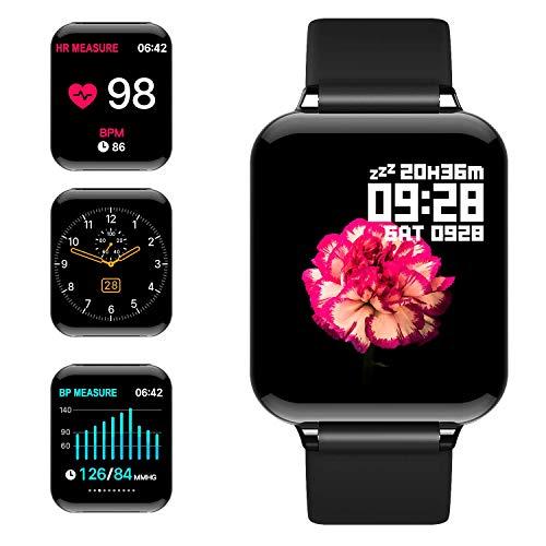 jpantech Montre Connectée Smartwatch Femmes Homme Montre Sport Podometre Cardio Frequencemètre Chronomètres, Bracelet Connecté Etanche 50 Mètres, Montre Tactile pour Android iOS Téléphone(Noir)