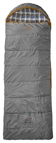 Grand Caynon Utah - warmer Deckenschlafsack, besonders weich und angenehm durch Baumwoll-Flanel im Innenbezug, 3-Jahreszeiten, Extrem: - 20°, für Camping, Outdoor, Festival, grau/orange, 301004L