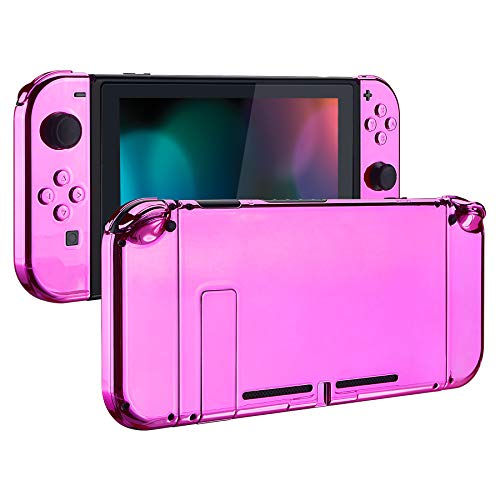 eXtremeRate Back Plate for Nintendo Switch Console, NS Joycon Handheld Controller Housing with Full Set Buttons, DIY Replacement Shell for Nintendo Switch - Chrome Pink